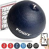 POWRX - Slam Ball Balón Medicinal 3-20 kg - Ideal para Ejercicios de Entrenamiento Funcional - (15 kg/Negro)