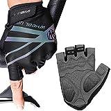 Hikenture Cycling Gloves for Men and Women Half Finger Mountain Bike Gloves Fingerless Lightweight Padded Road Bicycle Glove(Black XXL)