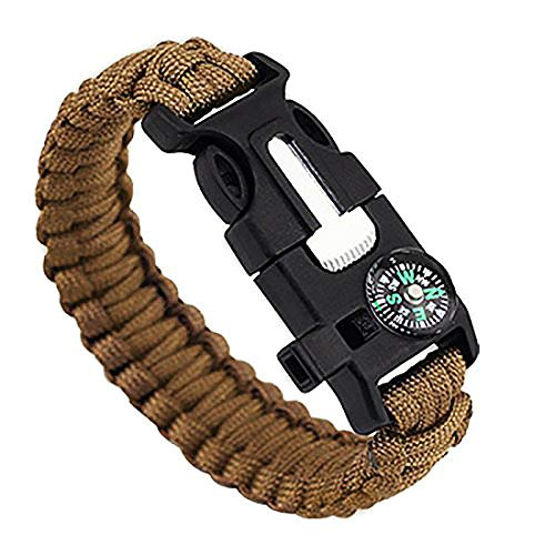 Pentaton Bracelet Paracord Outdoor Outil de Survie, Allume-Feu, Sifflet, Boussole, Couteau, Corde, Multifonctionnel 5 en 1 (1 pcs)
