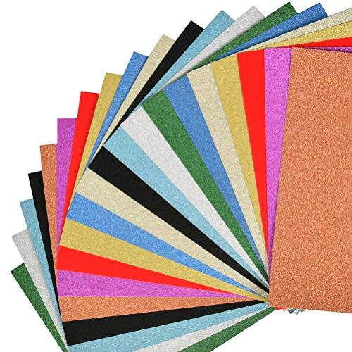 POKIENE 20 Blatt Glitzerpapier Glitzer Tonpapier glänzend | DIN-A4 10 Farben Glitzer Papier | Bastelpapier Glitterkarton für Basteln Scrapbooking und DIY