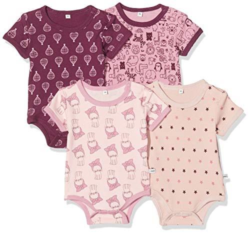 Pippi Pippi 4er Pack Baby Mädchen Body mit Aufdruck, Kurzarm, Alter 18-24 Monate, Größe: 92, Farbe: Lila, 3820
