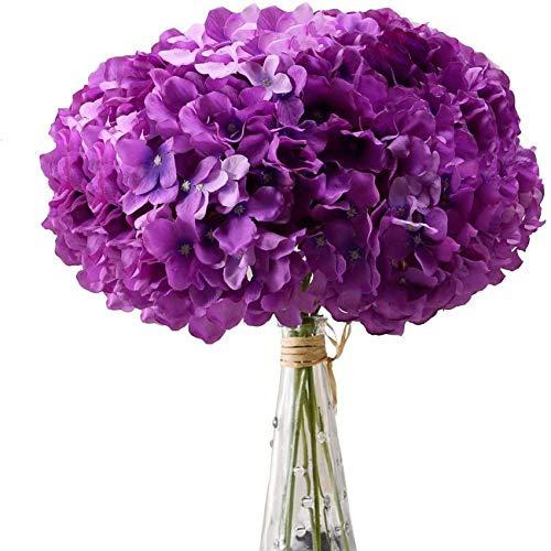 yueyue947 / Cabezas de Flores de Seda de hortensias Blancas Paquete de 10 Flores de hortensias Completas Artificiales con Tallos para Bodas Baby Shower Decoración Púrpura