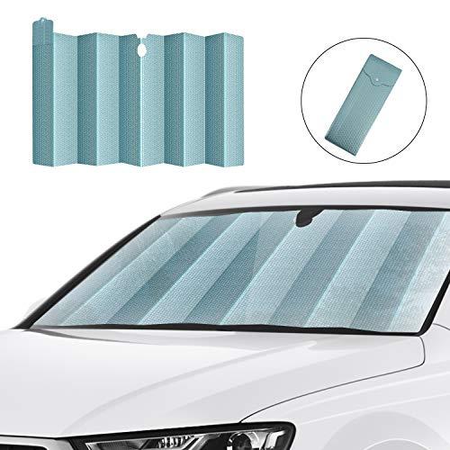 HUILI Windshield Shade, Foldable Car Sun Shade for Windshield 59x31.5inch (150x80 cm) UV Blocking, Car Window Shade for Pickups, Trucks, SUVs, Shiny Green