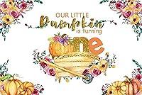 新しい小さなカボチャは1つの背景を回しています7x5ft幸せな1歳の誕生日パーティーの写真の背景秋のカボチャケーキテーブルの装飾感謝祭の写真ブース撮影小道具ビニールの壁紙