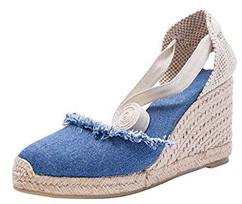 U-lite Cap Toe Platform Wedges Sandals for Women, Classic Soft Ankle-Tie Lace up Espadrilles Shoes (Dark Denim Canvas-3', Numeric_9_Point_5)