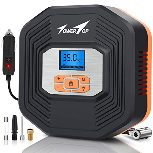 Air Compressor, 12V DC Portable Auto Tire Inflator Air Compressor, Car Tire Pump with Digital Display Pressure Gauge for Car, Bicycle, Sport Balls and Other Inflatables