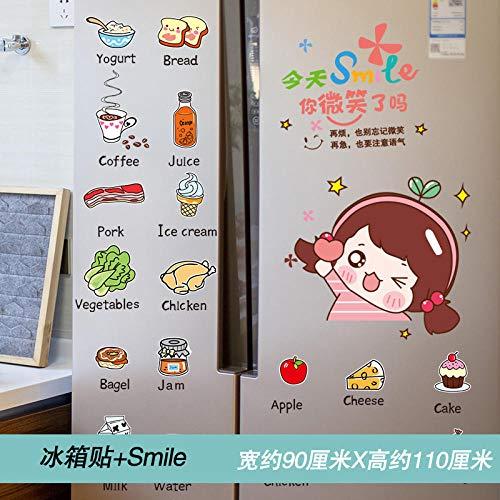 3d tridimensional personalidad cocina puerta pegatinas decorativas pegatinas de pared impermeable autoadhesivo-imán de nevera + sonrisa_grande