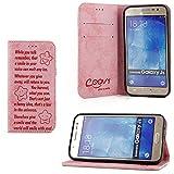 COOVY® Funda para Samsung Galaxy J5 SM-J500 SM-J500F (Model 2015) Billetera, Ranuras para Tarjetas, Cierre magnético, Soporte, Protectora de Pantalla | Smile | Color Rosa Claro