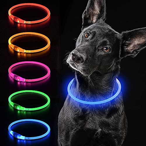 iTayga LED Dog Collar USB Rechargeable Light Up Dog Collar Adjustable TPU Pet Collars for Large Medium and Small Dogs (Blue)