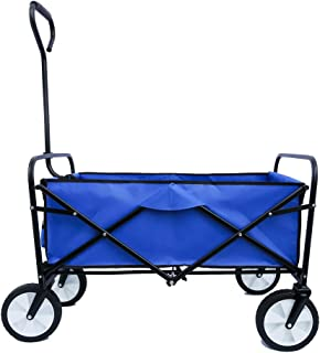 Folding Wagon Adjustable Handles Heavy Duty Waterproof Collapsible Beach Cart 600D Oxford Fabric&Steel Capacity-150 Pounds Garden Cart for Camping Sport Picnic
