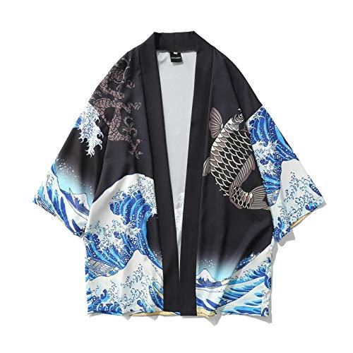 Lihcao Robe da Surf Onda Carpa Stampa Allentata Cappotto del Capo Ritagliata Uomini Giovanili del Kimono (Color : Black, Size : XL)