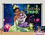 5x3ft Princess and The Frog Photo Background Cartoon Fairy Frog Princess Baby Shower Birthday Party Backdrops Night View Jungle Lotus Girls Newborn Banner Photography Decor