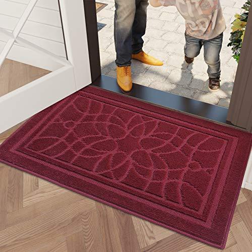 DEXI Felpudo Antideslizante,Alfombrilla para Puerta Interior y Exterior 80 x 120 cm,Felpudo de Entrada,Impermeable,Lavable a Máquina - Rojo