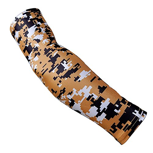 Nexxgen Sports Apparel Moisture Wicking Compression Arm Sleeve (Single) (X-Large, Gold/Black/White)