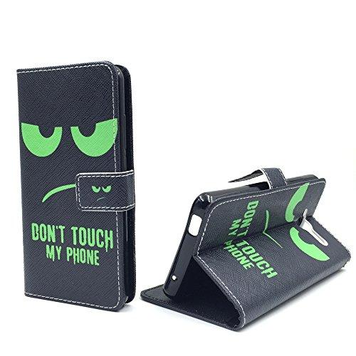 König Design Handyhülle Kompatibel mit ZTE Blade L3 Handytasche Schutzhülle Tasche Flip Case mit Kreditkartenfächern - Don\'t Touch My Phone Grün Schwarz