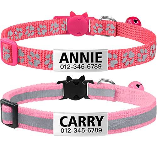 TagME katzenhalsband mit Namen und Telefonnummer auf,katzenhalsband mit sicherheitsverschluss, 2Pack/Rosa