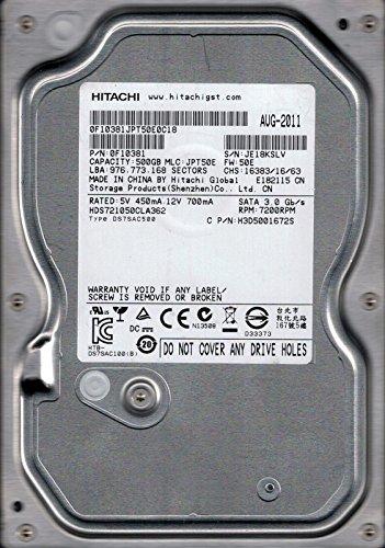 Hitachi HDS721050CLA362P/N: 0F10381500GB MLC: jpt50e