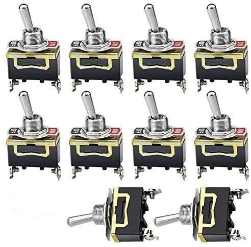 NATEE Lot de 10 Interrupteur à Bascule Commutateur, 2 Positions 2 Broches, SPST Métal Interrupteur à Levier pour Voiture Tableau de Bord Lumière (Noir)