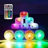 Luces LED sumergibles HL, mini candelitas RGB impermeables, multicolores, luces de té con control remoto para estanque, piscina, base, jarrón, jardín, decoraciones para bodas, paquete de 10