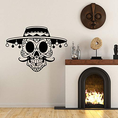 Meaosy Cráneo Head Wall Decal Old Face Face Skull Sticker De Pared Home Decor Skull Head Extraíble Con Sombrero De Pared Vinyl Design Vinyl