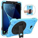 MoKo Funda para Samsung Galaxy Tab A 10.1 2016, Protección Antivibración con Soporte Giratorio de 360° y Correa de Mano para Tableta (No S Pen Version SM-T580/T585) - Azul Claro