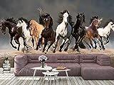 Oedim Fotomural Vinilo para Pared Manada Caballos Corriendo | Mural | Fotomural Vinilo Decorativo |150 x 100 cm | Decoración comedores, Salones, Habitaciones