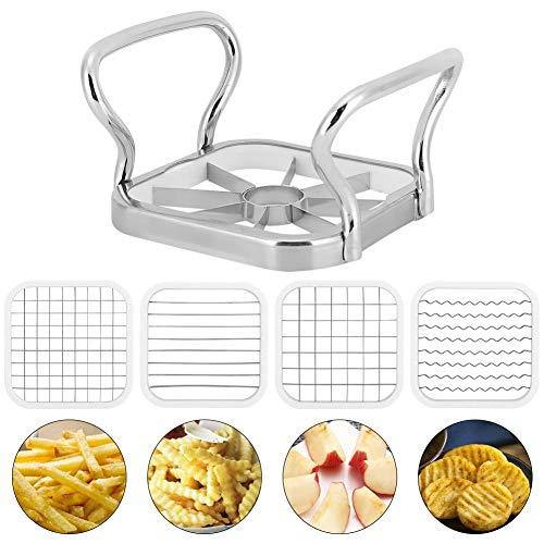 Multifunktionaler Gemüseschneider Edelstahl Pommes Frites Kartoffelschneider Obstgemüseschneider Gemüseschneider 5er-Set Manueller Kartoffelschredder MEHRWEG VERPAKUNG