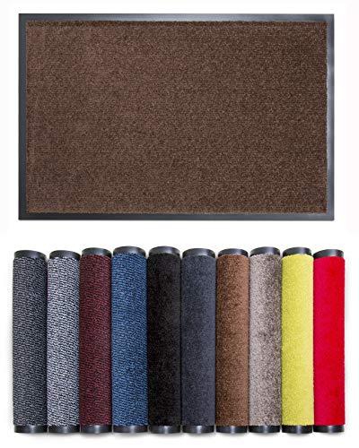 Carpet Diem Rio C Schmutzfangmatte - 5 Größen - 10 Farben Fußmatte mit äußerst starker Schmutz und Feuchtigkeitsaufnahme - Sauberlaufmatte in braun 80 x 120 cm