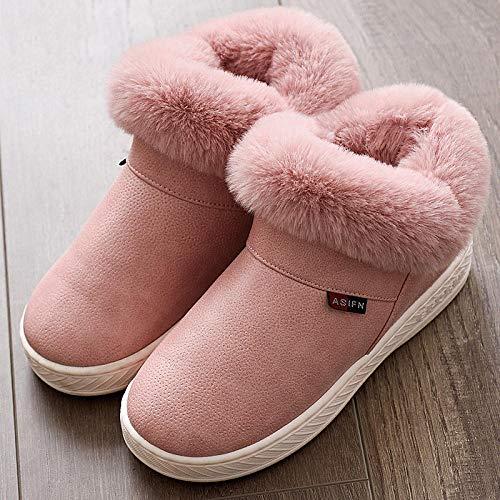 Pantuflas de poliuretano impermeables para hombre y mujer, para interiores y exteriores, cálidas y cerradas en la parte trasera, antideslizantes, color rosa 34-35