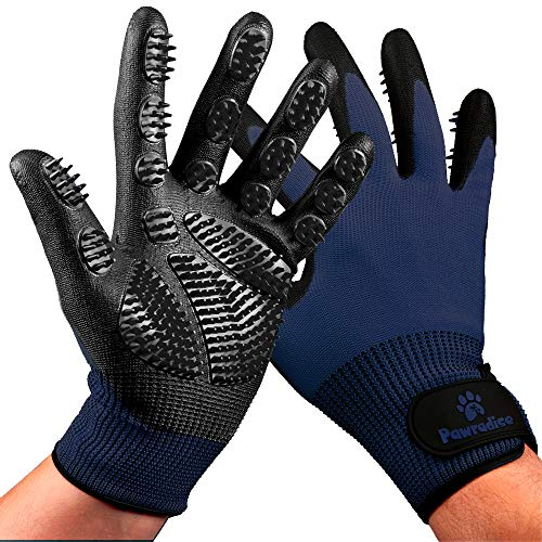 Pet Grooming and Bathing Gloves - Effective Pet Hair Remover for Cats, Dogs & Horses - Long & Short Fur - Enhanced Nubs Design Captures 2X More Hair
