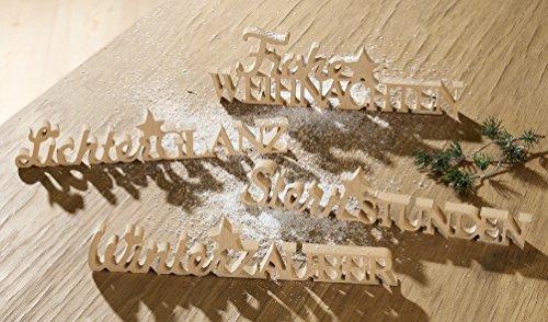1 x Stand-Spruchrelief Spruch: Winterzauber Holz natur Breite 30 cm, Weihnachten, Christmas