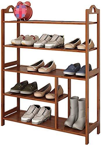 FGVBC Porche 5 Niveles Botas Zapatero Estante Plano de bambú Múltiples Capas Gabinete de Almacenamiento de Madera Organizador de Muebles 66 * 25 * 90cm Artículos para el hogar