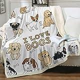 Sleepwish Puppy Dog Design Sherpa Blanket Cute Cartoon Pet Fleece Throw Blanket Super Soft Fuzzy Reversible Plush Blankets for Bed Sofa Throw (50' X 60')