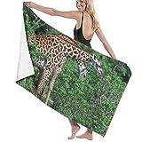SDFGSE Beach Bath Towels for Women Men Wild Giraffe Taste Tree Leaves Bath Bath Towels Quick Dry...