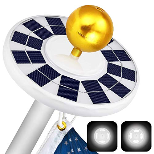 ffresiss Solar Flag Pole Light, 128 LED Flagpole Lights with 2 Models Brightness, 2500mAh Rechargeable Solar Light Most 15 to 25Ft Flag Coverage, IP65 Waterproof Auto On/Off Night Lighting