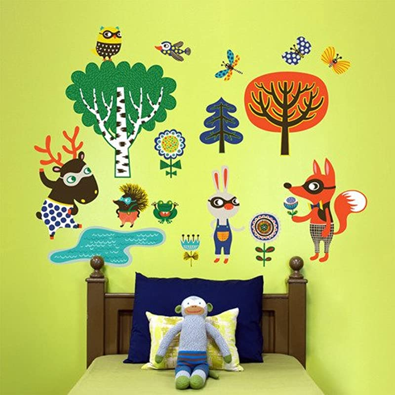 Oopsy Daisy Peel And Place Funky Woodland Creatures Boy By Helen Dardik 54 By 60 Inch