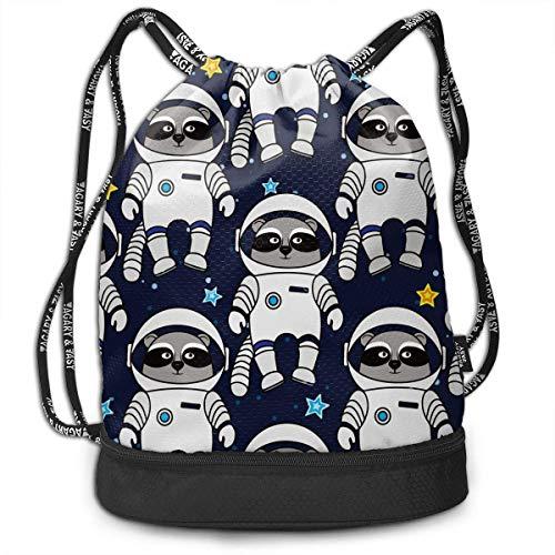wwoman Mens Women Drawstring Bag Diebstahlsichere Lightweight Beam Bag, Reisen Schulter Rucksack - Space Raccoon Astronaut Wasserdichter Rucksack Fußball Basketball Bag