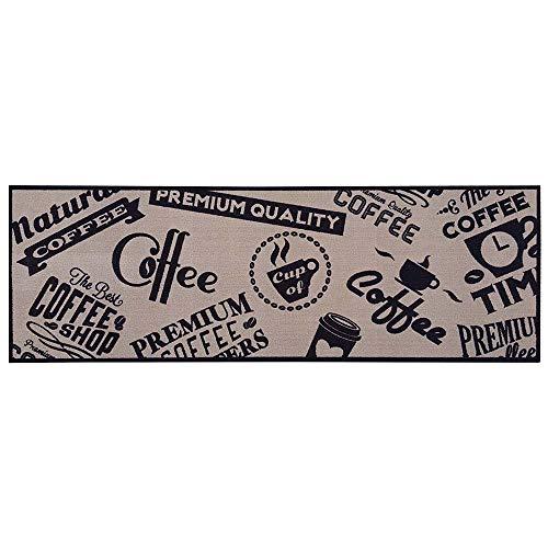 Teppich Boss - Tappeto da cucina beige, con stampe a tema caffè. lavabile e antiscivolo, 50 x 150 cm