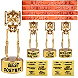URATOT 4 Pack Halloween Costume Skeleton Plastic Gold Trophies with 12 Pieces Sticker, 4 Pieces Costume Contest Award Sashes, for Halloween Costume Contest Party Awards