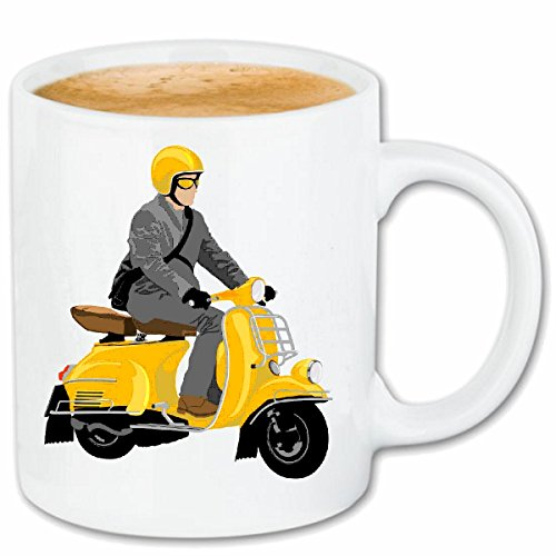 Reifen-Markt Kaffeetasse Retro Roller Race Racing Formel Motor Team Speed Speedway Classic American Keramik 330 ml in Weiß