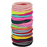 100 Count Girls Elastic Hair Ties Ponytail Holders No Metal Multicolor Hair Elastics (3.5 x 0.2 cm?