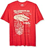 STAR WARS Men's Millennium Falcon Detailed Drawing T-Shirt, Red Heather, X-Large