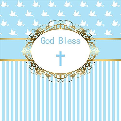 LFEEY 8x8ft Cross God Bless Infant Baptism Photography Background Pigeon Blue Stripes Baby Shower Christening Ceremony Backdrop for Boy Girl Photo Studio Props