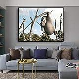 UIOLK Lienzo de Arte Jirafa Cebra hipopótamo Arte Divertido Animal Pintura árbol Pintura usada para decoración Cartel Pintura de Pared hogar Retro Art Poster