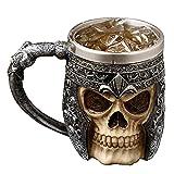 Tazza Teschio,Tazza 3D Teschio,Boccali da Birra a Forma di Teschio Tazza in acciaio INOX,Metallo Tazza Teschio,boccale birra,caffe boccale,Halloween Decor, Party Trick Cup