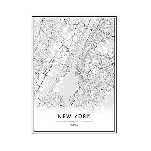 Wmaple Londres New York, Paris Toile Peinture Murale du Monde Carte de la Ville Affiche Résumé Noir Blanc Huile Photo Unframed Huile Dessin