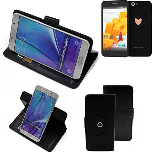 K-S-Trade® Case Schutz Hülle Für -Wileyfox Spark X- Handyhülle Flipcase Smartphone Cover Handy Schutz Tasche Bookstyle Walletcase Schwarz (1x)
