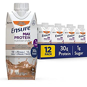Ensure Max Protein Nutritional Shake with 30g of Protein 1g of Sugar High Protein Shake Cafe Mocha 11 Fl Oz 12 Count