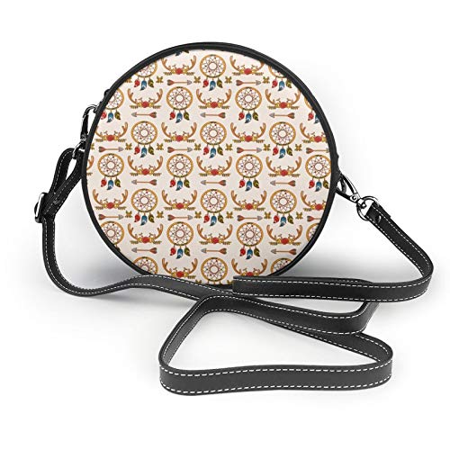 Bolso de mano con estilo hippie redondo para mujer, estilo bohemio, bolsa de trabajo
