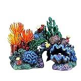 Qiyu Peces tanque paisajismo fondo Paquete Coral concha concha rocosa Resina hierba agua falso árbol Acuario decoración Suministros